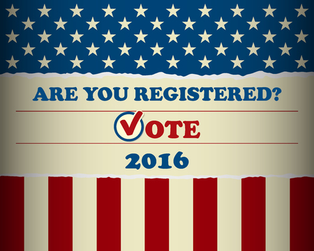 Presidential election in the USA - Are you registered? - Poster template 矢量图像
