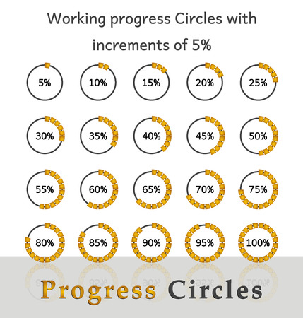 increments: Progress circles with increments of 5% for business and private use