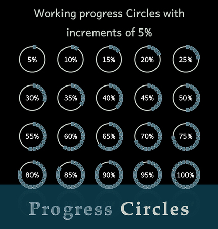 Progress circles with increments of 5% for business and private use