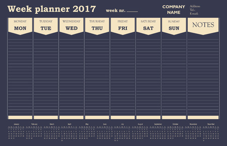 week planner: Week planner calendar 2017 for office and private use. Illustration
