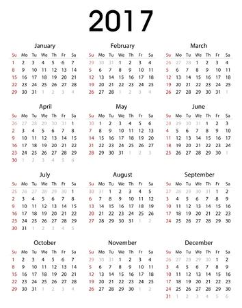 Simple 2017 kalender sjabloon voor commercieel en privé-gebruik Stockfoto - 57527998