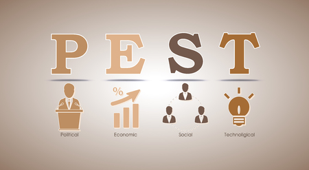 PEST analysis template with political, economic, social and technological factor icons included