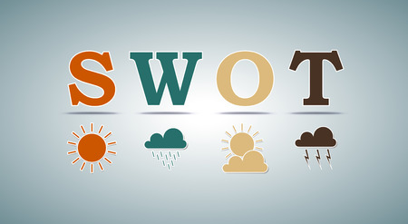 SWOT analysis template for commercial and private use - weather design elements