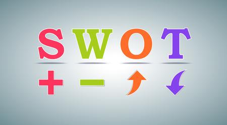 상업 및 개인 사용을위한 SWOT 분석 템플릿 일러스트