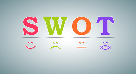 swot analysis: SWOT analysis template - for commercial and private use - emoticons design