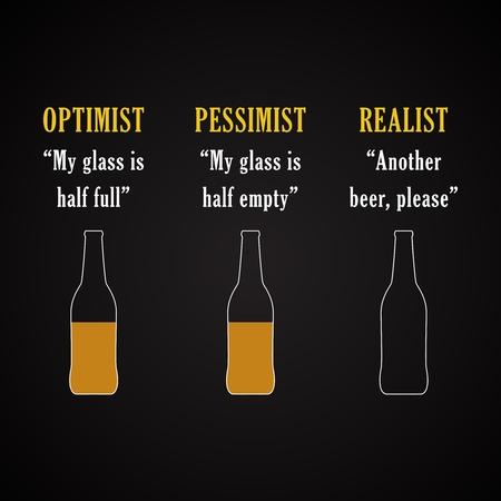 Optimista, pesimista, realista - plantilla de inscripción graciosa