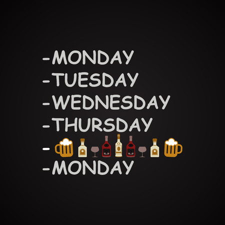 Weekdays - funny inscription template