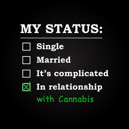 status: My status in relationship with Cannabis - funny inscription template