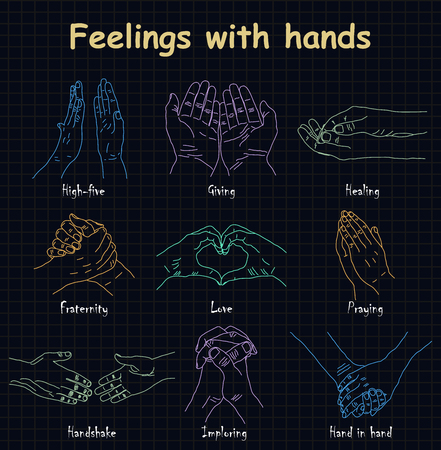 Hand-drawn emotions - feelings with hands Illustration