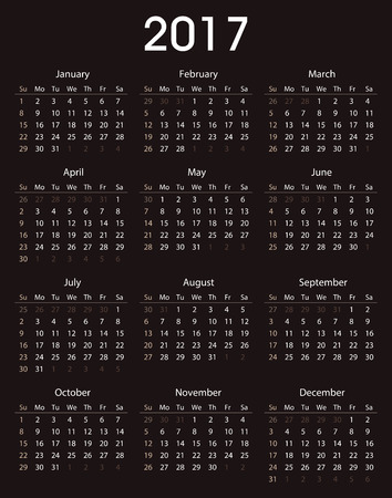 event planner: Simple 2017 calendar template for commercial and private use - week starting with Monday