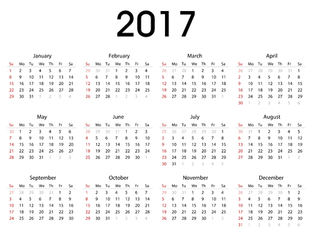 Simple 2017 calendar template for commercial and private use - week starting with Monday