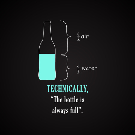 Technically, the bottle is always full. - Funny inscription template Illustration