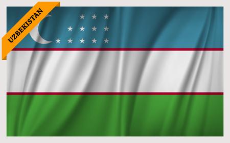 edition: National flag of Uzbekistan - waving edition Illustration