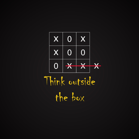 Think outside the box - funny inscription template Vetores
