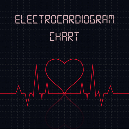 Electrocardiogram (ECG) chart table - healthcare infographic Illustration