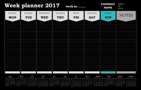 Week planner calendar 2017 for companies and private use - organizer and schedule