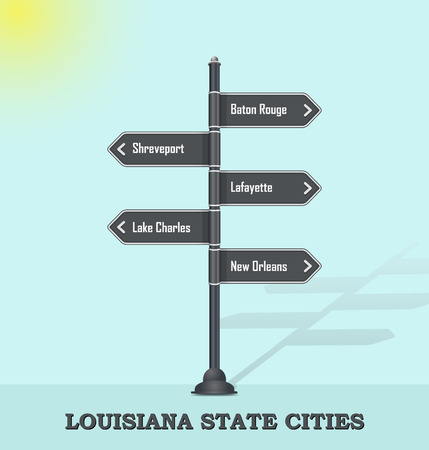 Road signpost template for US cities and towns - Louisiana state