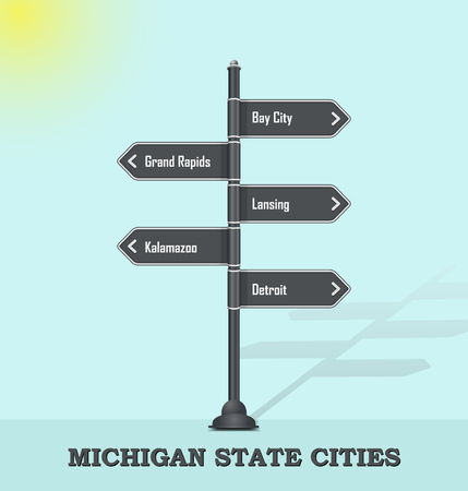 Road signpost template for US cities and towns - Michigan state