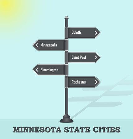 Road signpost template for US cities and towns - Minnesota state Vektoros illusztráció