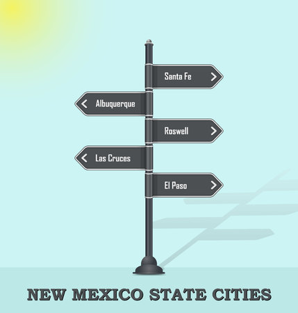 Road signpost template for US towns and cities - New Mexico state Illustration