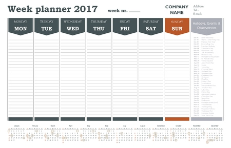 week planner: Week planner calendar 2017 for companies and private use - holidays included
