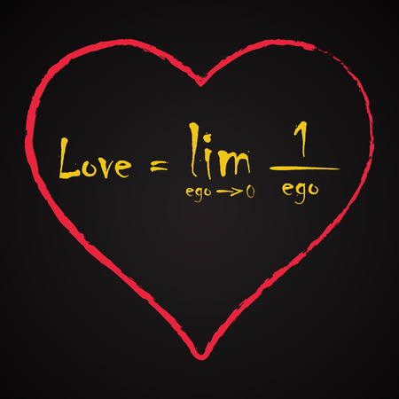 Love Equation made with math symbols - love funny inscription template