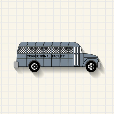 Correctional Facility prison bus mathematical squares on paper