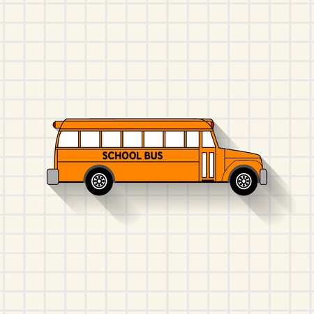 School bus mathematical squares on paper