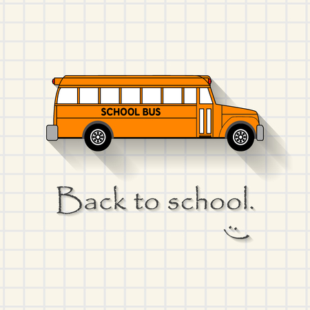 triplet: Back to school with happiness - funny school bus inscription template mathematical squares on paper Illustration