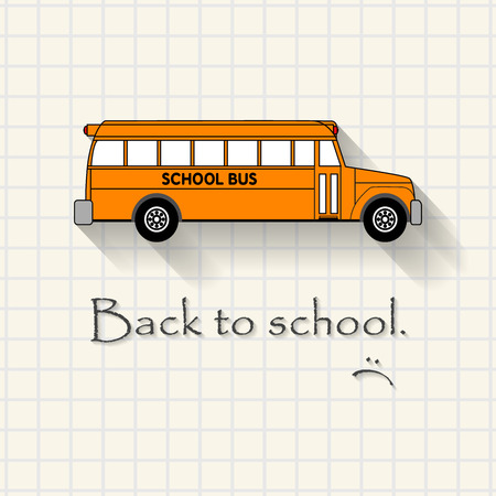 Back to school with sadness - funny school bus inscription template mathematical squares on paper