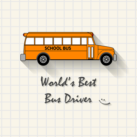 triplet: Worlds Best Bus Driver - funny school bus inscription template mathematical squares on paper