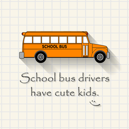 triplet: School bus drivers have cute kids - funny school bus inscription template mathematical squares on paper