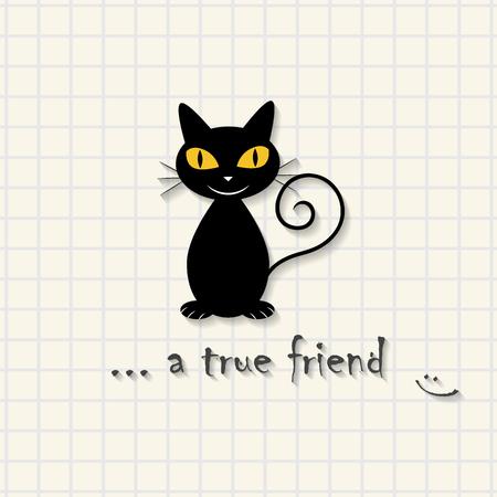 True friend - cute cat scene on mathematical square paper