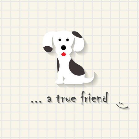 True friend - cute puppy dog ??scene on mathematical square paper