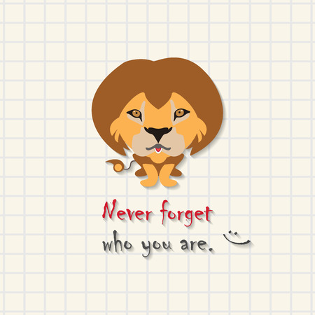 Never forget who you are - cute lion scene on mathematical square paper  イラスト・ベクター素材