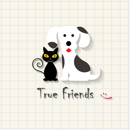 True friendship - dog and cat friendship scene on mathematical square paper