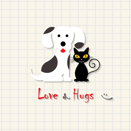 Love and Hugs - dog and cat friendship scene on mathematical square paper