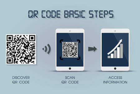 QR code on your tablet basic steps - quick response code infographic template, tablet version Illustration