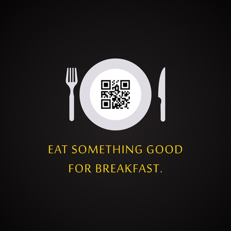 Eat something good for breakfast - QR Code design template with text hidden inside the code Illustration