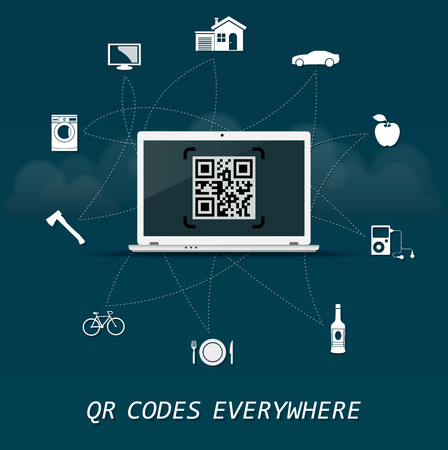 maschine: QR Codes everywhere - quick response codes Business infographic template with laptop in the center
