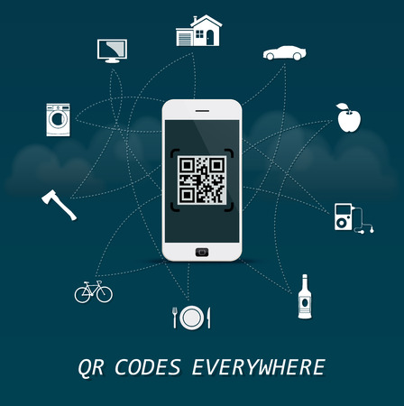 QR Codes everywhere - quick response codes with mobile phone business infographic template in the center