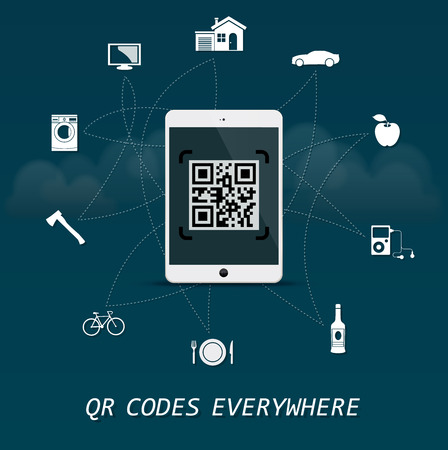 maschine: QR Codes everywhere - quick response codes infographic template with business tablet in the center Illustration