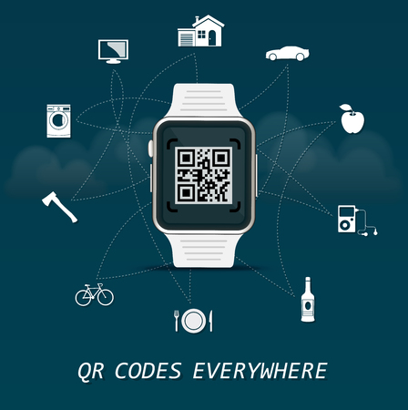 QR Codes everywhere - quick response codes Business infographic template with smart watch in the center