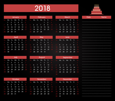 Birthdays 2018 calendar template background
