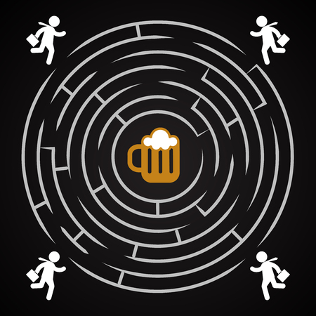Beer labyrinth - business man run for a mug of beer background template.