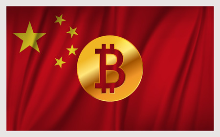 Bitcoin on the national flag of China waving country