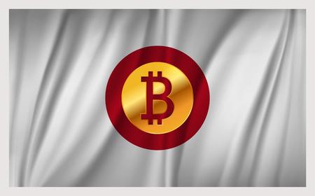 bandera japon: Bitcoin on the national flag of Japan waving country Vectores