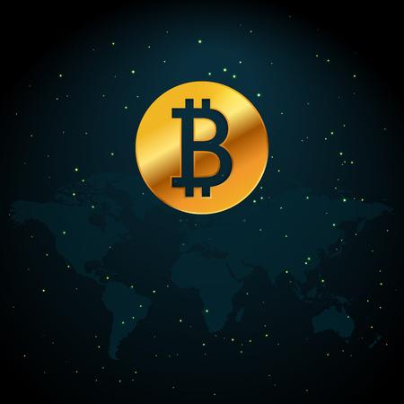 별과 공간 배경으로 세계지도 그림을 기반으로 Bitcoin 통화