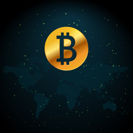 Bitcoin currency based on world map illustration with stars and space background
