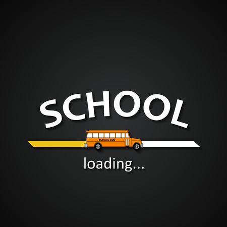 School loading bar with school bus - funny school bus inscription template background